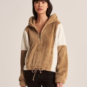NWT Abercrombie & Fitch Brown Fleece Hooded Jacket